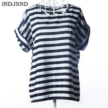 INDJXND Women Striped Blouse Shirt Short Sleeve Blo