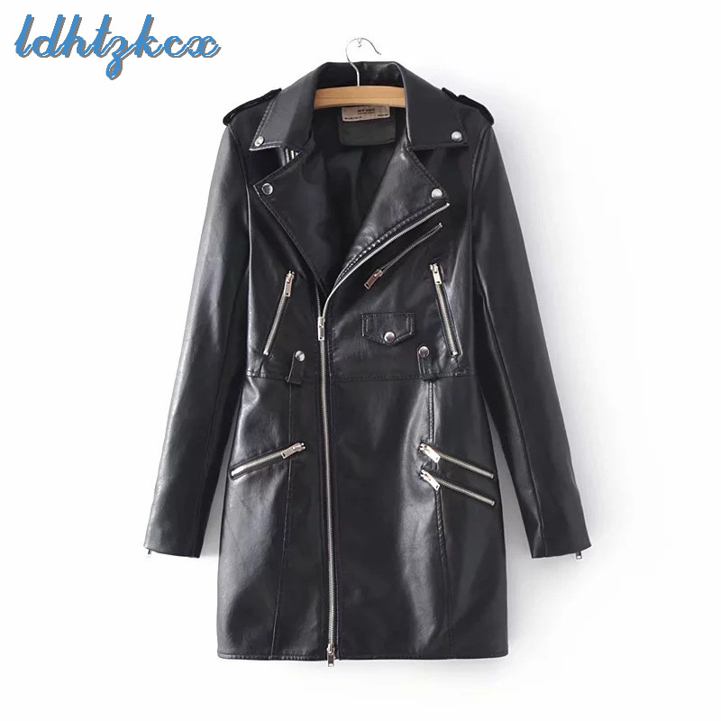 Leather   Jacket Women Black Pink Plus Size Long PU Ployester Coat 2018 Autumn Winter Korean New Loose Slim Coats Feminino CX518