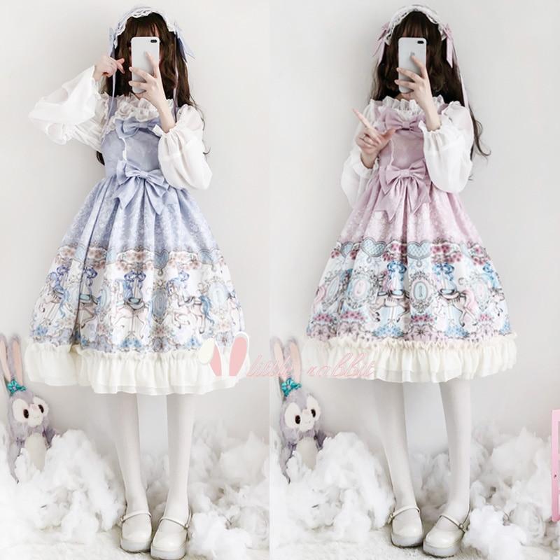 2 couleurs imprimé carrousel femmes JSK Lolita filles robe doux palais princesse Bowknot à volants quotidien robe de soirée violet et rose