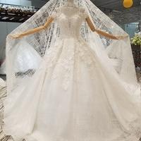 LS645441 красоты нарядные платья принцесс с Лепесток Цветы ожерелье украсить с открытыми плечами Милая платье невесты с вуалью