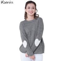 Ksenia 2017 Autumn Winter New Women Heart Pattern Patchwork Long Sleeve Round Neck Knits Sweater Fashion