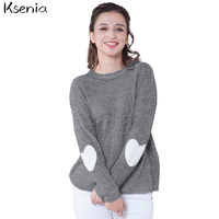 Ksenia 2017 Autumn Winter New Women Heart Pattern Patchwork Long Sleeve Round Neck Knits Sweater Fashion