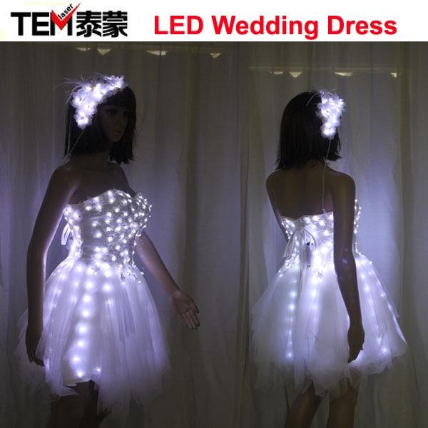 LED Luminous Illuminated Glow Light Up Dance Women Lady Dress Costumes Clothes Billowing Skirts Wedding Party