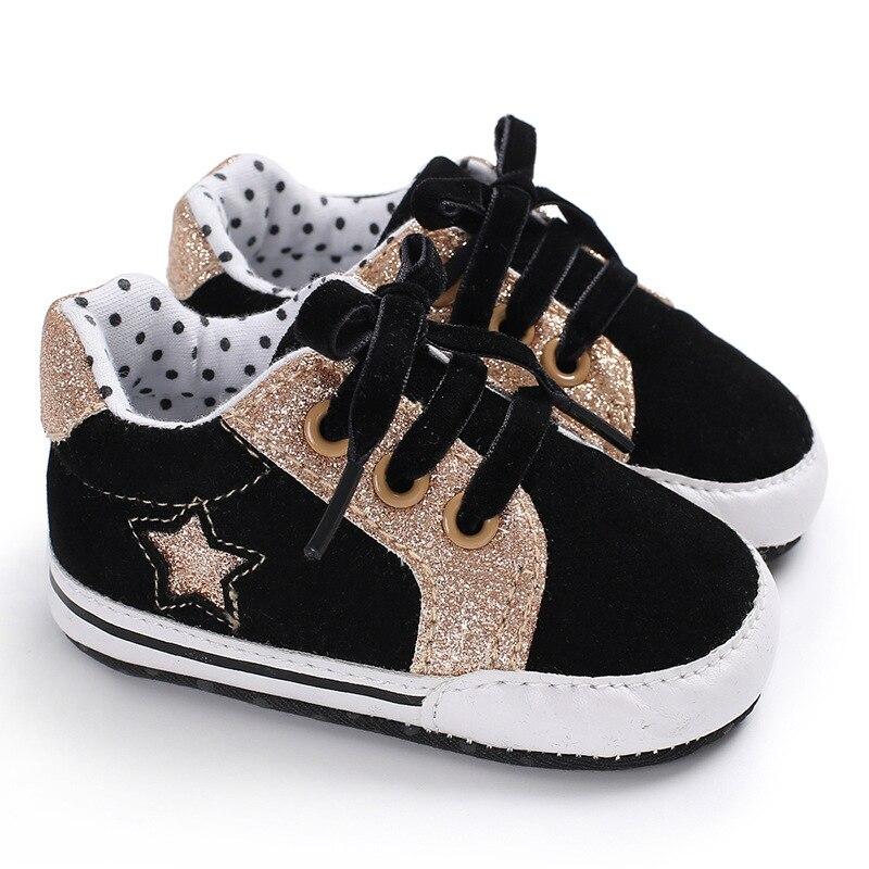 Newborn Shoes Star Anti-slip Black Baby Boots Dots Flock Toddler Sport Sneakers First Walker Bebe Booties Age 0-18M 1 Pair Send