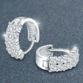 925 Sterling Silver with Platinum Plated 2-row Zircon Hoop Earrings Women Fashion Brand Jewelry Free Shipping (SE029)