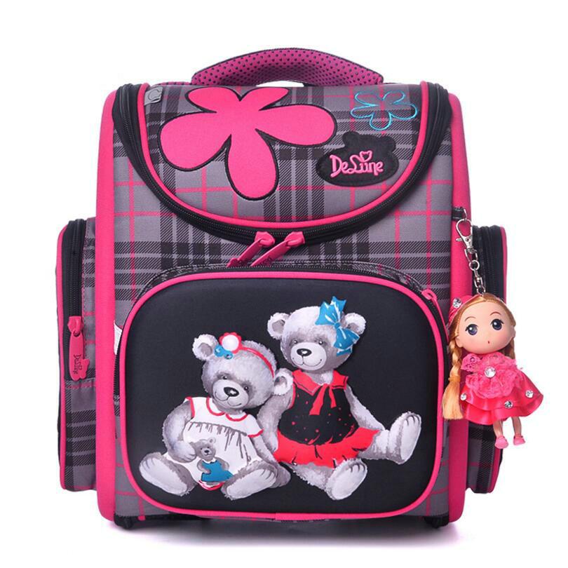 Delune High Quality School Bags for Girls 3D Bear Print School Backpacks Children Birthday Gift Orthopedic Backpack