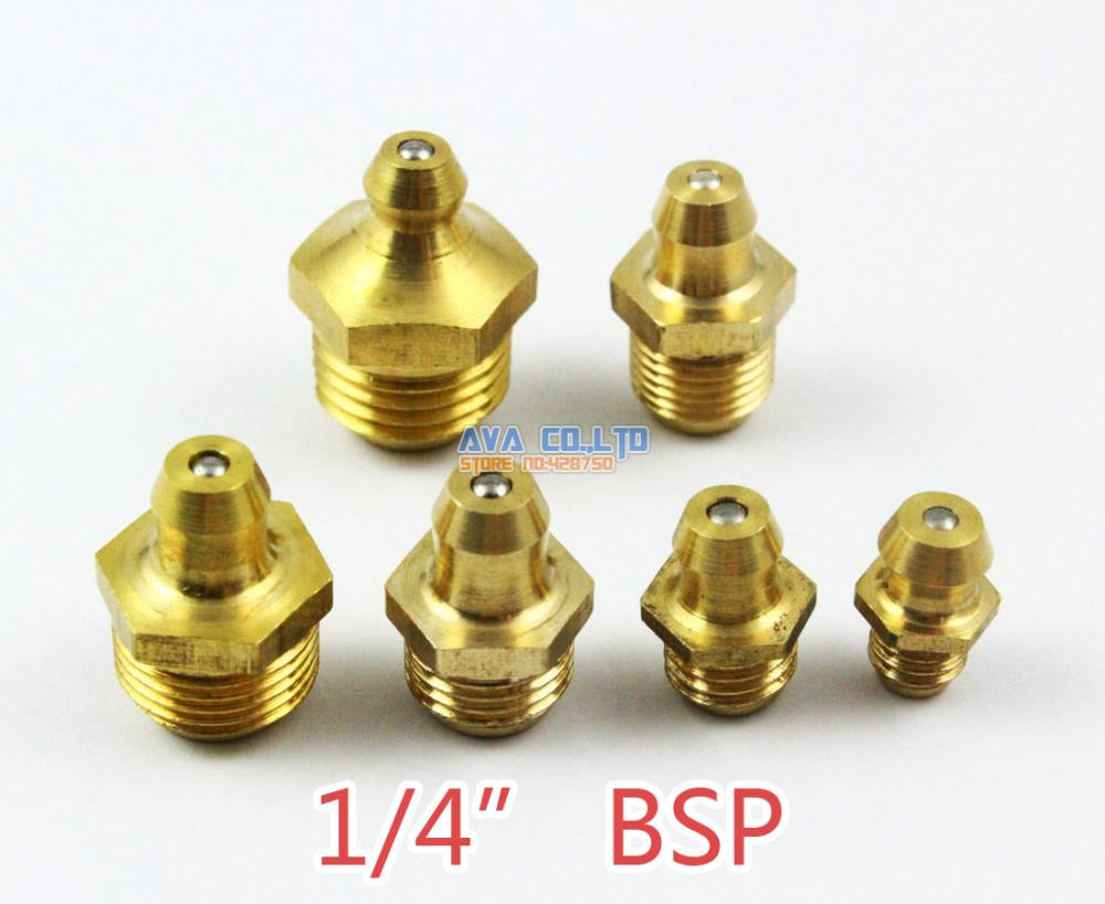 Fevas 10 Pieces 1//4 BSP Brass Straight Grease Zerk Grease Nipple Fitting