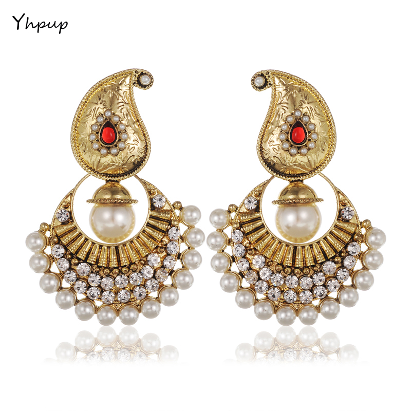Yhpup Vintage Golden Queen Palace Luxury Ethnic Bohemian Rhinestone Pearl Beads Earrings boucles d'oreilles Europe Noble Indian