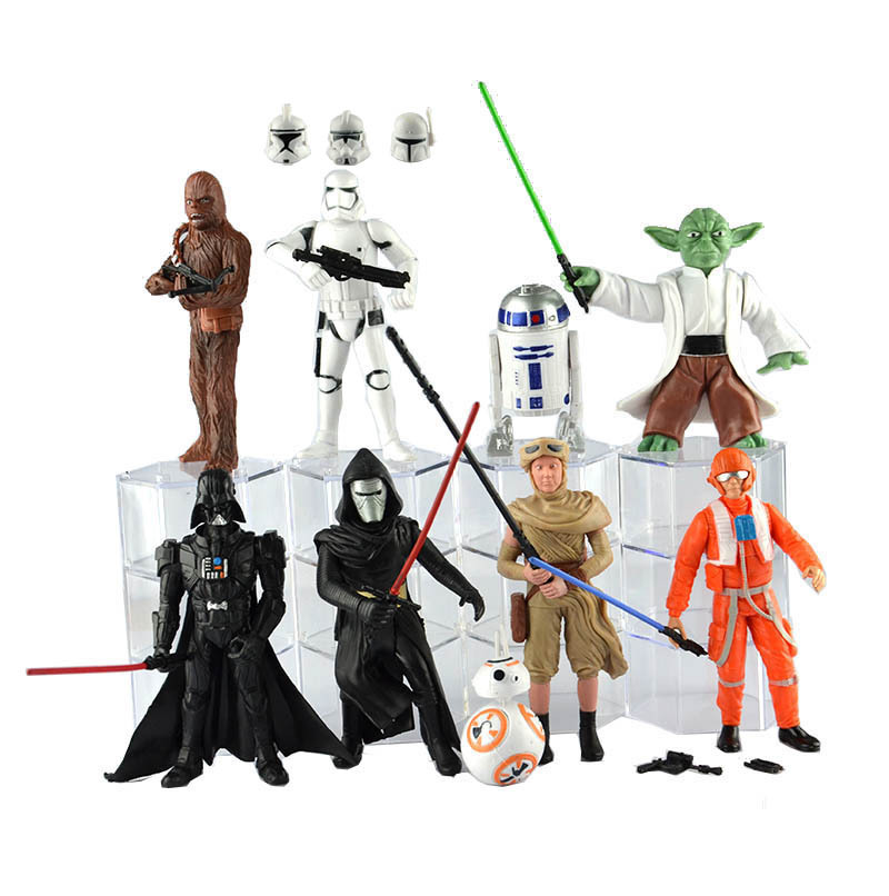 купить 9pcs/set Star Wars Darth Vader Jedi Knight Master Yoda BB-8 Collectible Action Figures PVC Collection toys for christmas gift онлайн