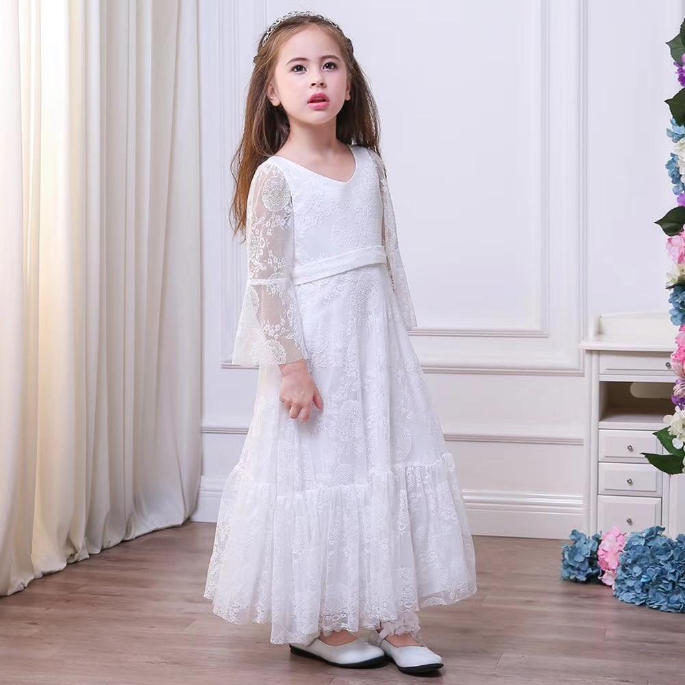 Demoiselle d'honneur dentelle filles robe de mariage robes de soirée robe de noël fille long Costume robe de princesse 3-13y