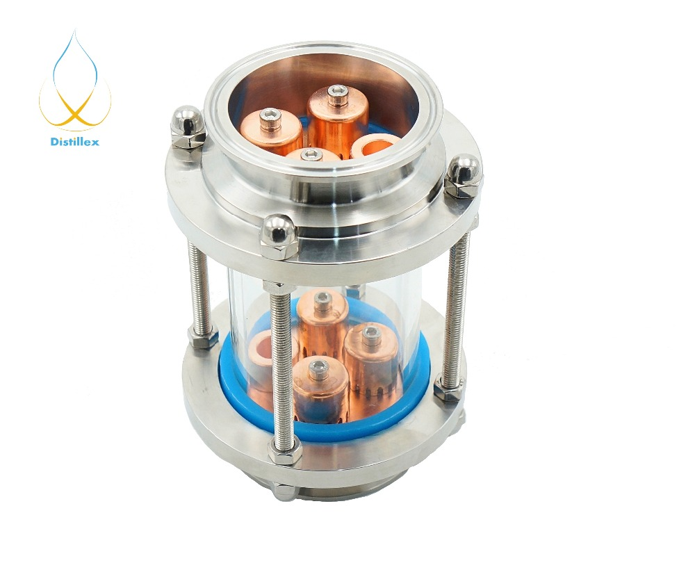 Mini 3 76mm OD91mm 99 9 Red Copper 2 pcs bubble plates Distillation Glass Column for