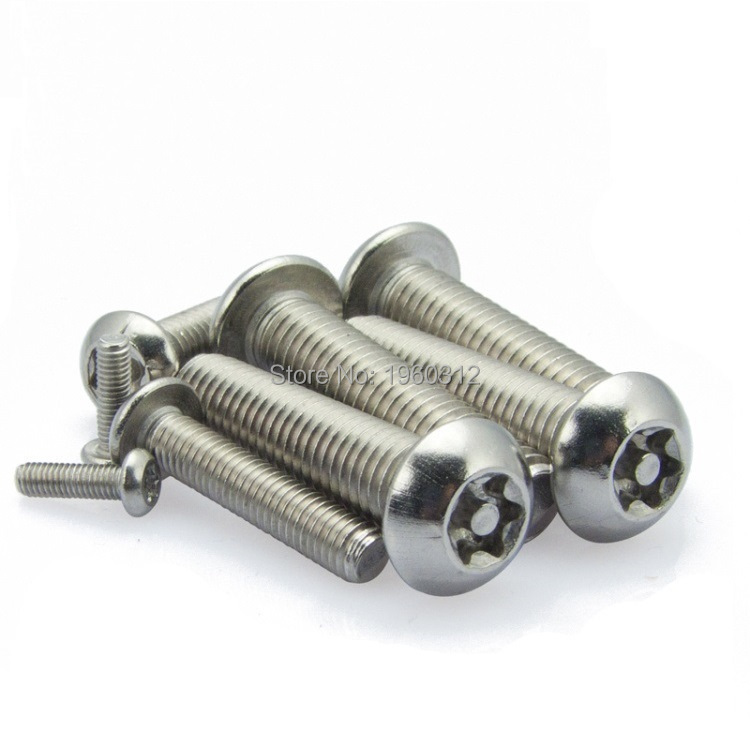 Qty 1 Button Post Torx M6 x 60mm Stainless T30 Security Screw Tamperproof 304