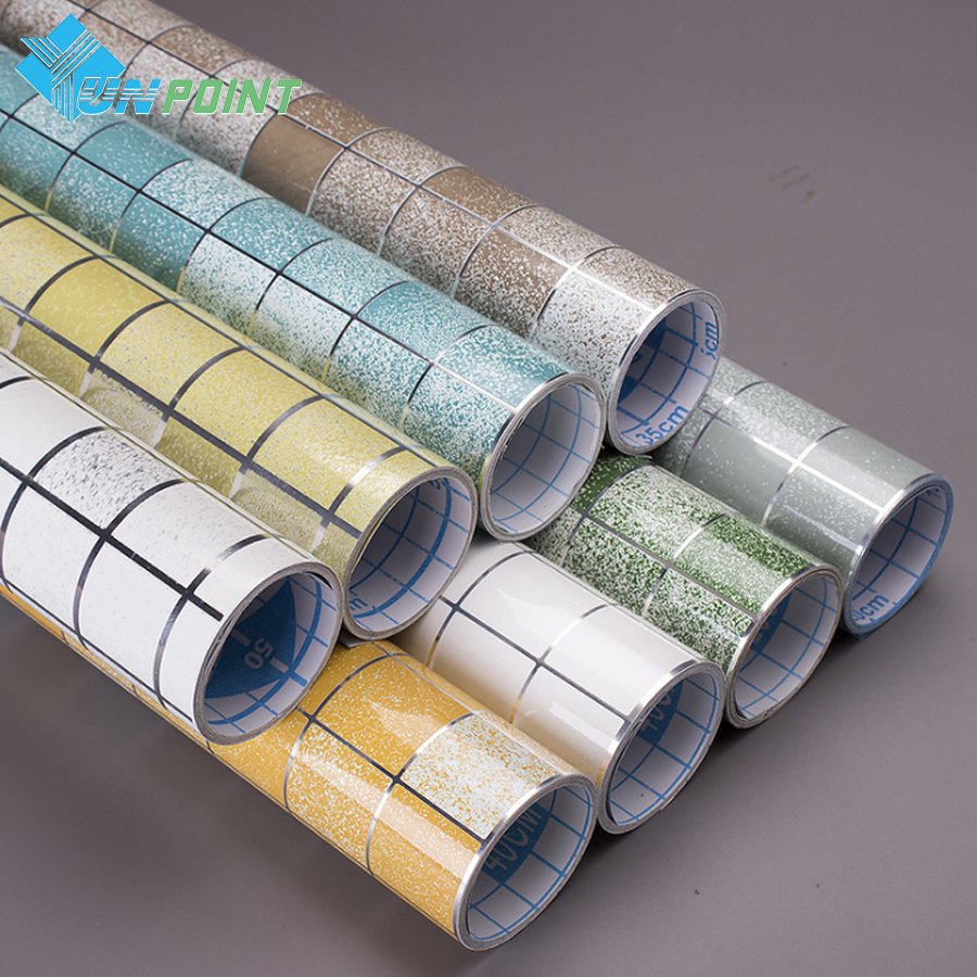 Kitchen Oil-proof Stickers High Temperature Vinyl Mosaic Self Adhesive Wallpaper Bathroom Toilet Tiles Waterproof Wall Stickers