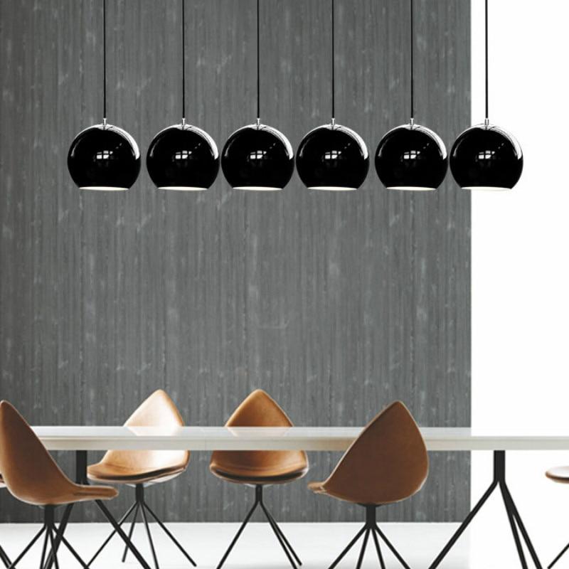 Modern Nordic Fashion Black/white Aluminum Ball Led E27 Pendant Light For Dining Room Bedside Bar Living Room Dia 20cm 2283 3head crystal light ball aluminum pendant light child real dining room pendant light modern fg964