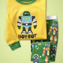 P176 пижамы с принтом робота детские пижамы для мальчиков, длинные рукава одежда для сна с рисунком комплекты для От 1 до 7 лет