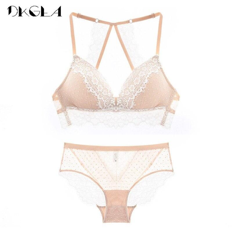 2018 New France Embroidery Lace Lingerie Set Black Thin Cotton Bras Plus Size XL L M S Underwear Women Sets Sexy Wire Free Bra lingerie top