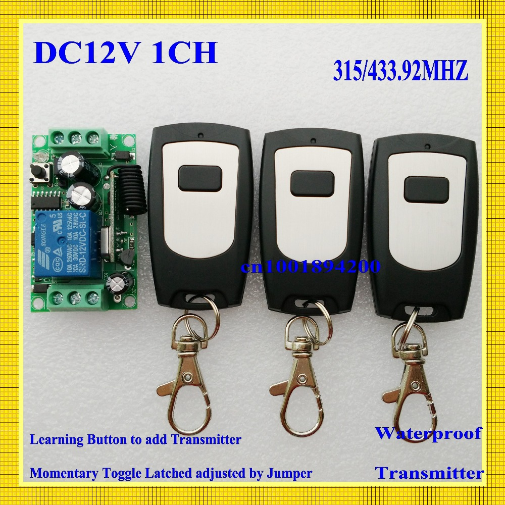 12V1CH Momentary/Toggle wireless switch RF Wireless remote control switch 3controller 1switch 10A Relay 100m Waterproof 315/433 hot selling dc12v rf 315mhz 433mhz ch wireless remote control toggle momentary rf relay 12v rocker switch momentary
