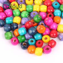 Colorful Wooden Hair Beads for Accessory Tools 5mm Inner Hole 50pcs/lot to 100pcs/lot Crochet Deardlock Braids