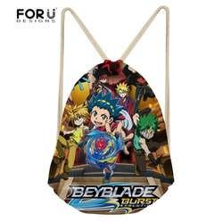 FORUDESIGNS/аниме Beyblade Burst Эволюция печати Дети Drawstring сумки для обувь мальчиков японский Малый Рюкзаки Мультфильм Mochila