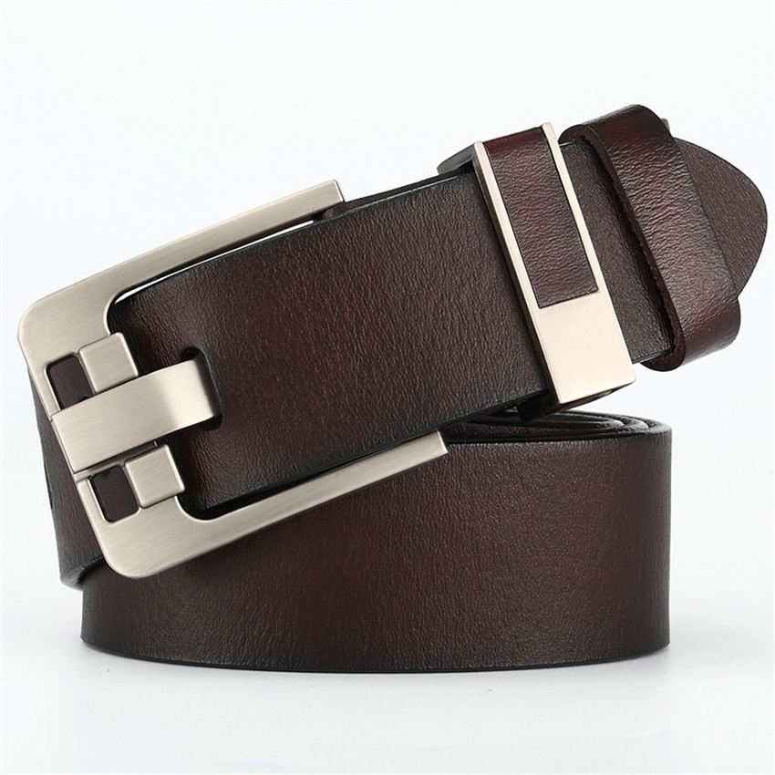 Luxury Cow Genuine Leather Belt Men Designer For Male Pants Suits Solid Metal Buckle Business Men Vintage Pin Buckle Long Belt