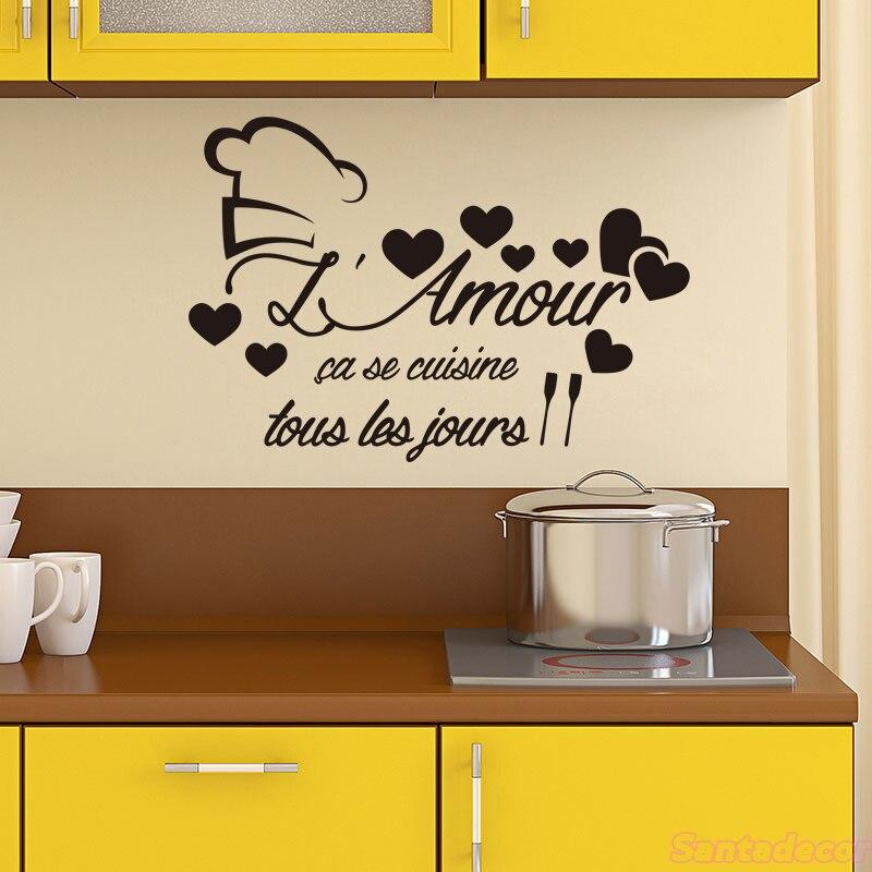 Français Cuisine L'amour avec coeur vinyle Sticker mural décalcomanie Cuisine mur Art décor maison affiche décoration maison 40 cm x 58 cm