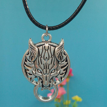 27x40MM Wolf Head Pendant Necklace Vintage Ancient Silver Charms Necklace Fashion Jewelry Wax Leather Cord Chain цена в Москве и Питере