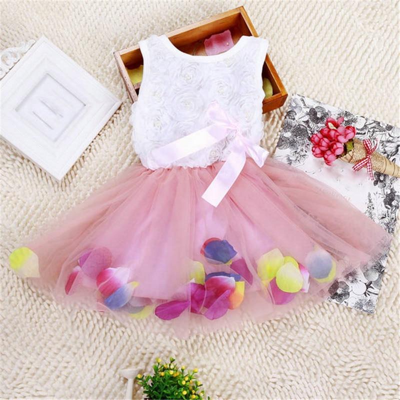Candy Girl Hem Petal Dress Floral Clothes TuTu Dress Butterfly-knot Princess Dress Week Clothing 7 Colors