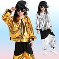 Gold Silver kids Adults Modern Jazz Sweatpants dancing Hoodie Costumes Sequined Girls Boys Ballroom Hip Hop Dancewear Outfits