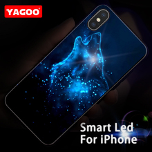 Yagoo Smart Led Glow Phone Case For iPhone X Cases Back Cover Apple iPhoneX 5.8 inch Cool Wolf Pattern Glitter Glass