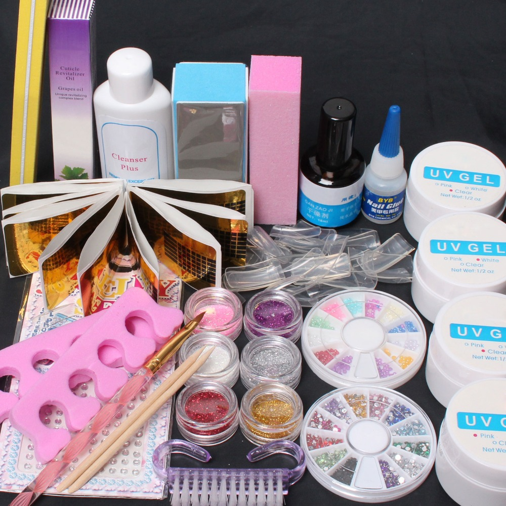 Full Acrylic Glitter Powder Glue File French Nail Art UV Gel Tips Kit Kit- #168 pro starter kit nail salons kit nail art acrylic powder french tips 9w uv lamp glitter powder uv gel manicure set