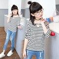 Девочек майка Детская одежда Девушки футболка Детская футболка в Полоску Костюм с Длинным рукавом Детская одежда футболка девочка Футболка