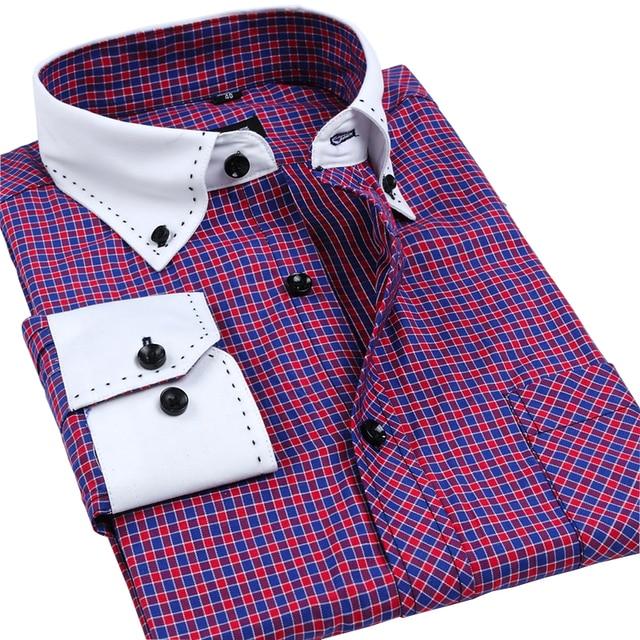 Autumn Collar Designer Long sleeve Korean Men's Dress Shirts Top Quality Solid / Plaid Business Shirts Pin tribute Shirts 3XL