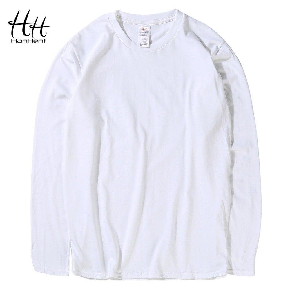 HanHent Fashion Classic Cotton T-shirts Men Solid color Long Sleeve O-neck Tshirts White Plain Bodybuilding Basic T shirts
