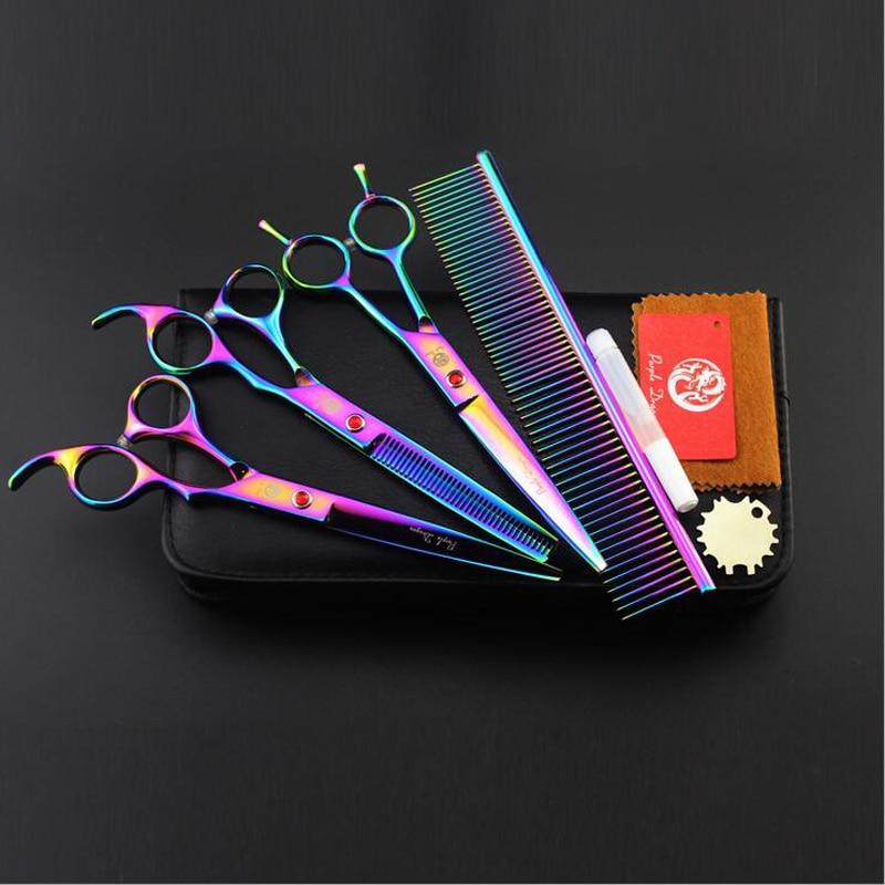 Brand Purple Dragon Professional Pet Grooming Scissors 7 0 Inch Pet Cutting Thinning Shears High Quality