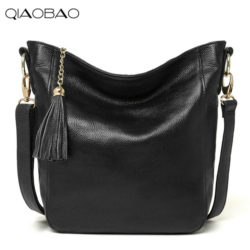 QIAOBAO Fashion 2018 Designer Women Messenger Bags Females Bag 100% Genuine Leather Bag Crossbody Shoulder Bag Bolsas Femininas женские блузки и рубашки hi holiday roupas femininas blusa blusas femininas