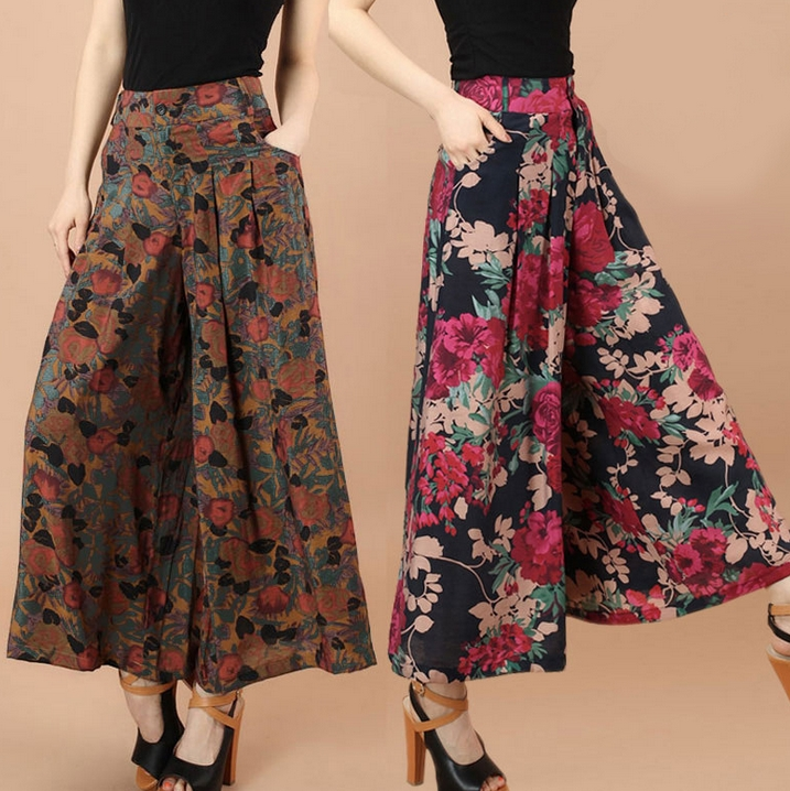 new femal loose   pants   fashion Women's   Wide     Leg     Pants   plus size 5XLFlower print   Pants