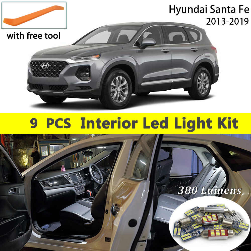 9Pcs Witte Canbus led Auto interieur verlichting Pakket Kit voor Hyundai Santa Fe 2013-2016 2017 2018 2019 led interieur lichtkoepels