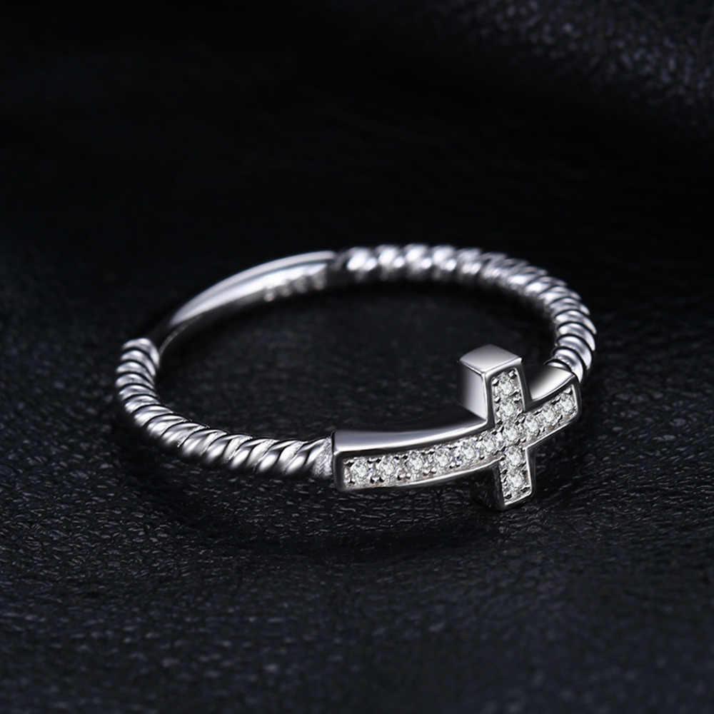 JewelryPalace Cruz ronda Zirconia cúbica de La Paz declaración anillo para las mujeres joyería de moda de Plata de Ley 925 joyería de las mujeres