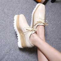Brand Black Mirror Flat Platform Shoes Woman Lace Up Square Toe Oxford Shoes For Women Platform