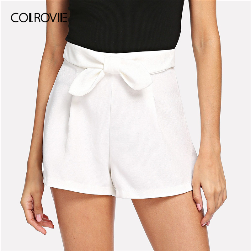 COLROVIE White Solid Bow Waist Casual   Shorts   Women Clothing 2019 Summer Streetwear Zipper Fly Wide Leg Office Ladies   Shorts