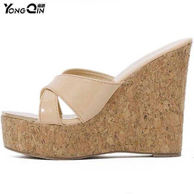 9360fb2a6b873 Women Thick Bottom Platform Flip Flops Wedge Heel Shoes 2017 Woman Summer  Sandals Open Toe High-heeled Shoes