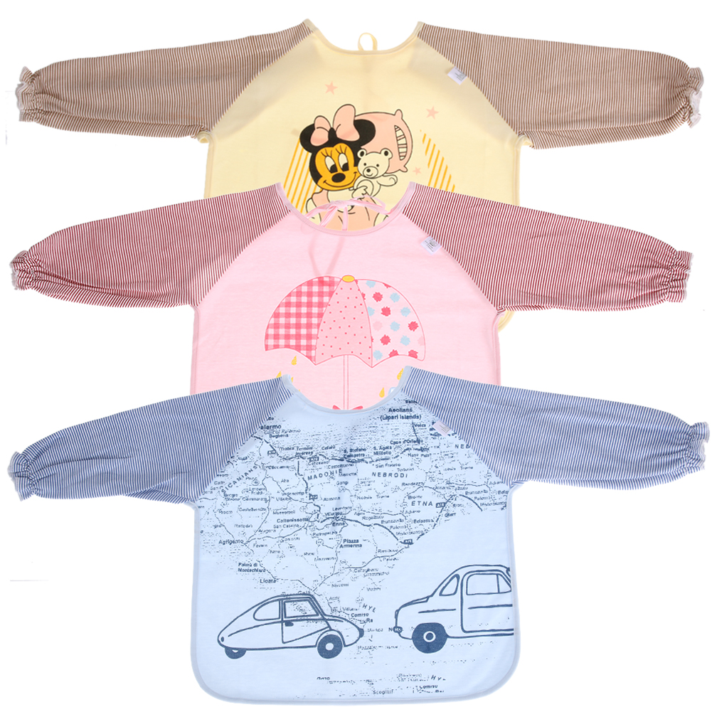 Children Baby Bib Burp Baby Todders Waterproof Long Sleeve Smock Bibs Apron Pure Cotton Soft Feed Painting Clothing(3-24months) erbaviva organic cotton baby bib