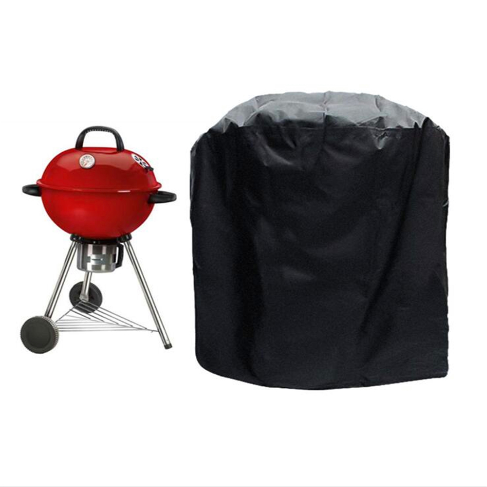 Black Waterproof BBQ Cover Round Heavy Duty BBQ Grill Cover Weber Rain Barbacoa Anti Dust Rain Gas Charcoal Electric Barbeque in Covers from Home Garden