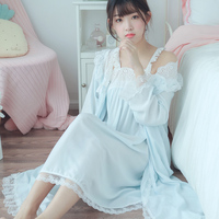 2018 autumn long sleeve print tracksuit for women cotton sleepwear vintage night gowns sleeping dress