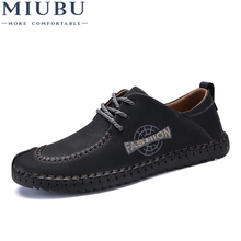 цена на MIUBU 2019 New Comfortable Casual Shoes Loafers Men Shoes High Quality Leather Shoes Men Flats Hot Sale Brand fashion Shoes