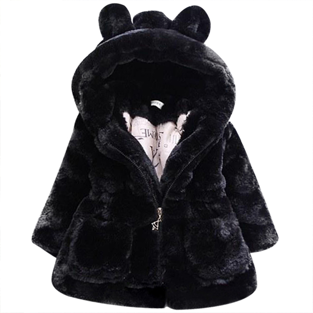 2017 Winter warm Baby Girls Waist Outerwear Children Faux Fur Rabbit ears Coat kids Jacket Christmas Snowsuit Outerwear child