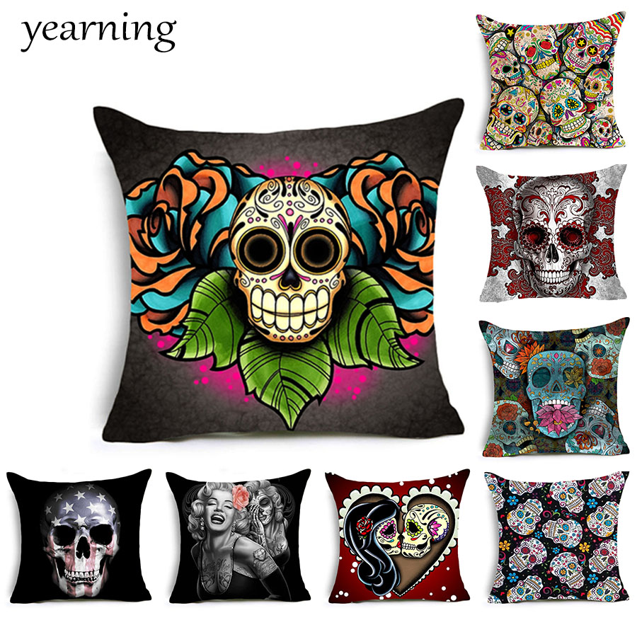 Skull Pattern Cushion Cover Colorful Print Polyester Pillow Case Decoration Home Office Bedroom Throw Pillow Cover Kussenhoes