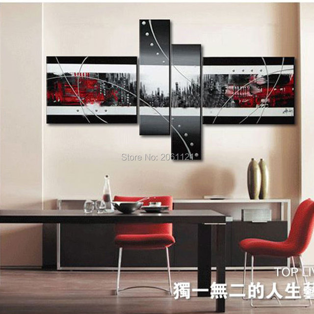 Hand Painted Modern Abstract Canvas Art Red Black Gray City Image Oil Paintings Wall Pictures Home