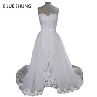 전자 JUE SHUNG 분리 기차 긴 웨딩 드레스 흰색 레이스 아플리케 연인 웨딩 드레스 vestido 드 noiva