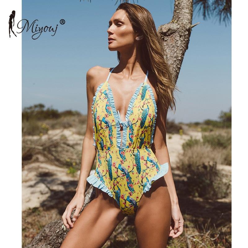 все цены на Miyouj Ruffle One Piece Swimsuit Sex Deep v swimwear women printing bandage bikini 2018 Bather Swim Suit ladies swimwear Biquini онлайн
